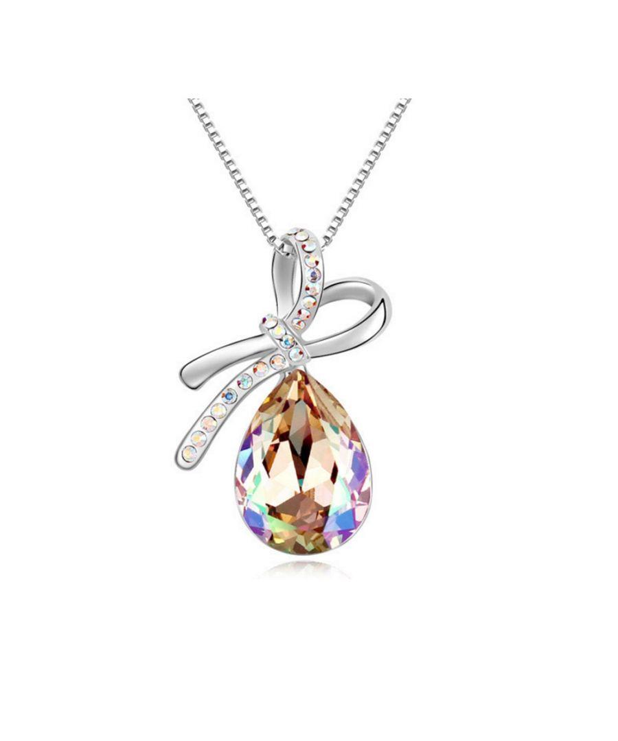 Image for Swarovski - Aurora Borealis Crystal Swarovski Elements Knot Pendant and White Gold Plated