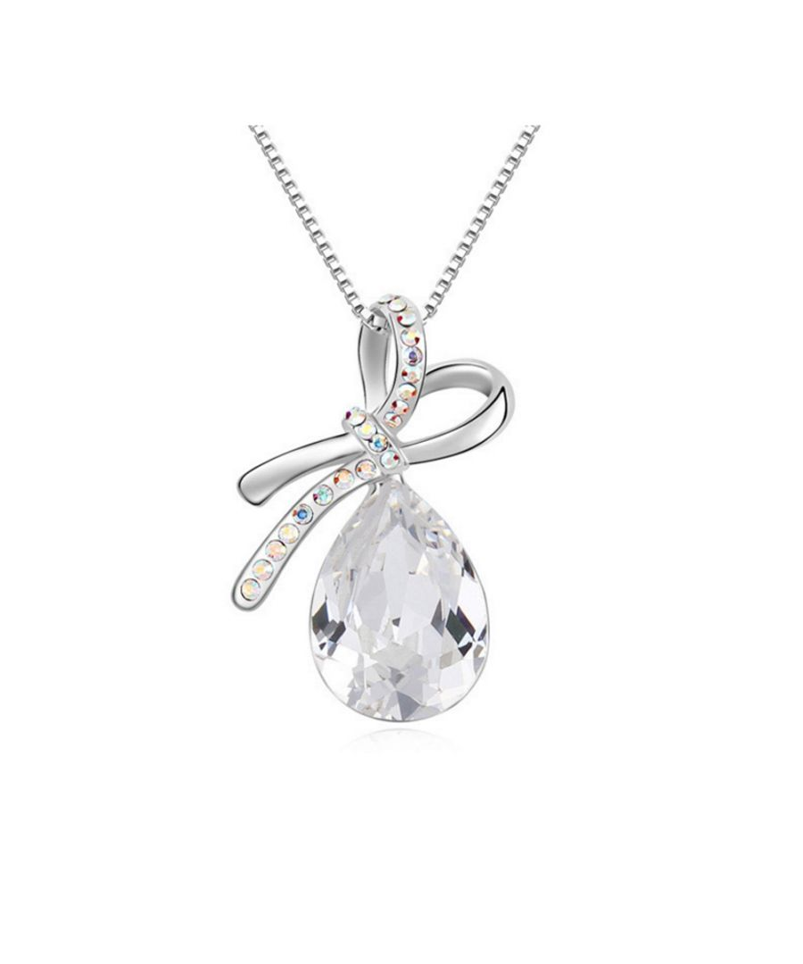 Image for Swarovski - White Crystal Swarovski Elements Knot Pendant and Gold Plated White
