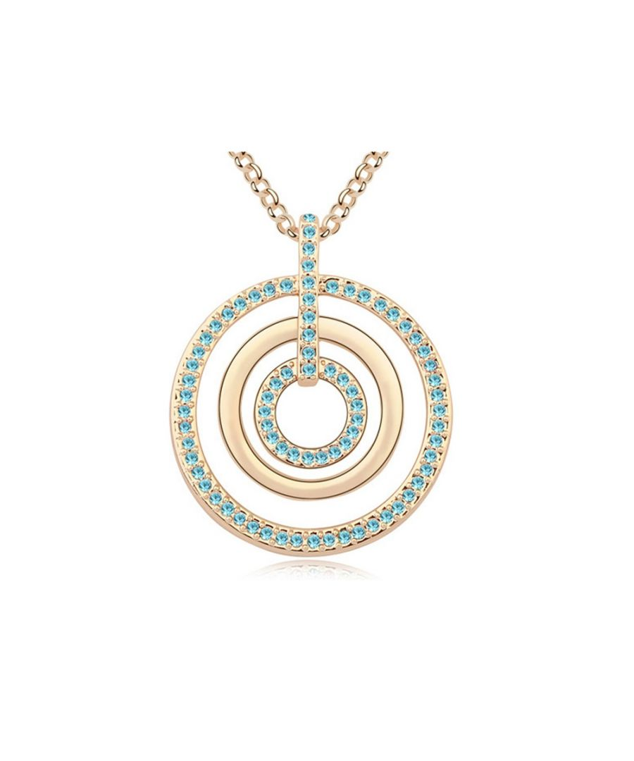 Image for Swarovski - Blue Crystal Swarovski Element Circles Long Necklace and Yellow Gold Plated