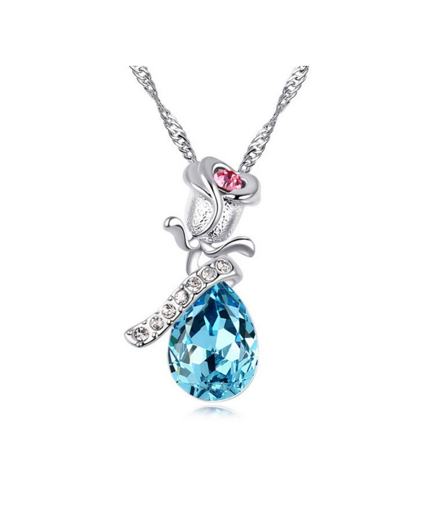 Image for Swarovski - Blue, Pink and White Swarovski Element Crystal Rose Necklace and White Gold Plated