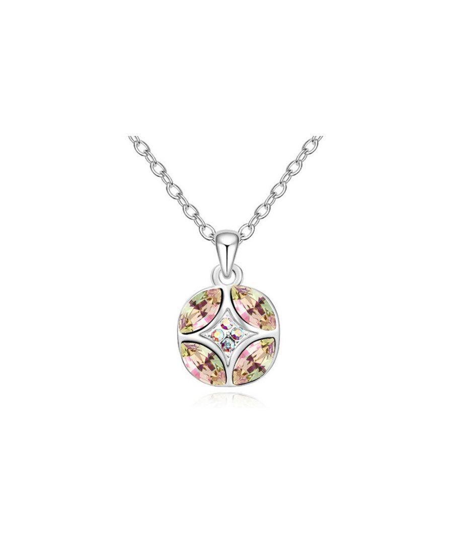 Image for Swarovski - White Crystal Swarovski Elements Circle Pendant and Gold Plated White