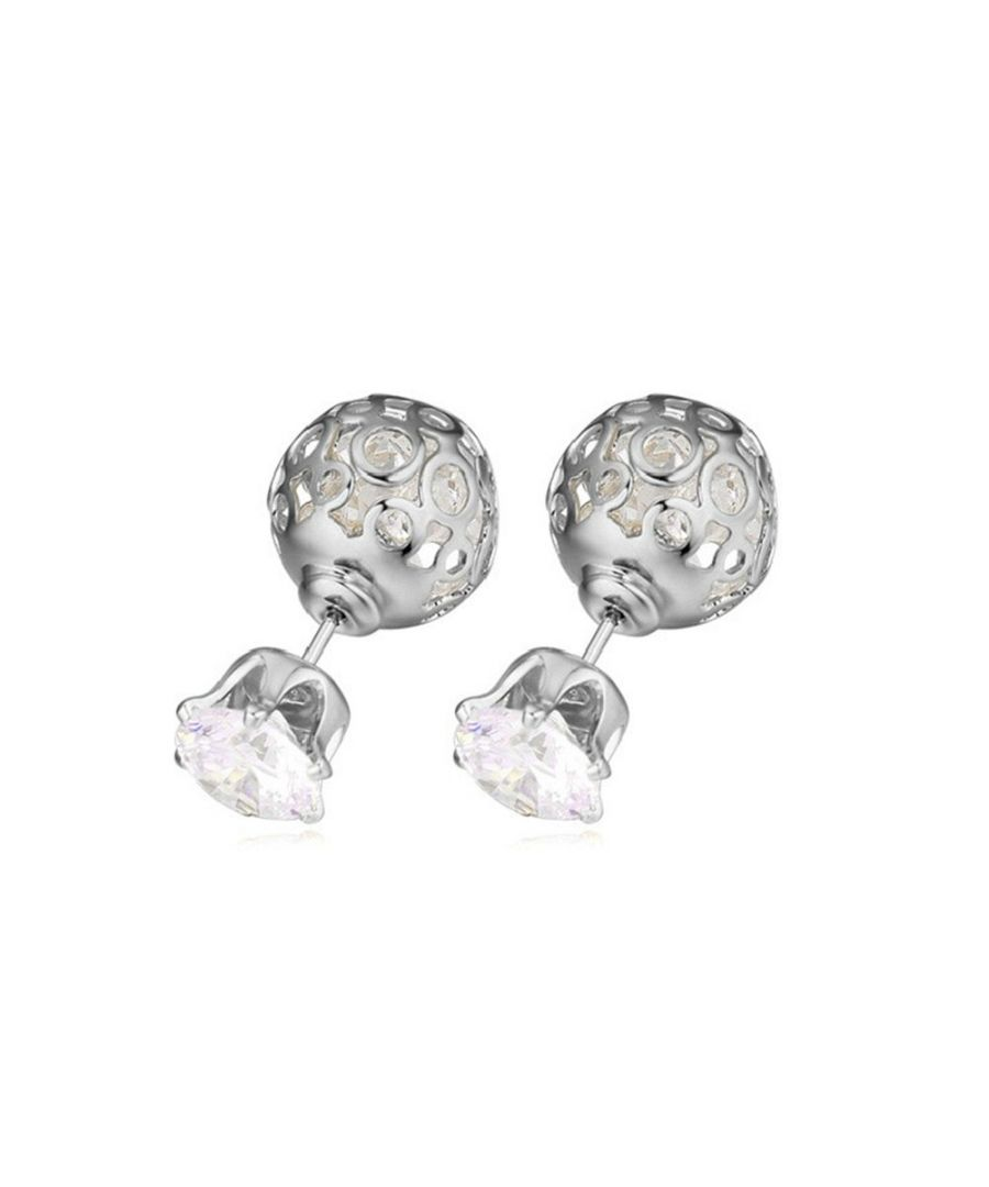 Image for Swarovski - White Swarovski Crystal Elements Earrings and Rhodium Plated