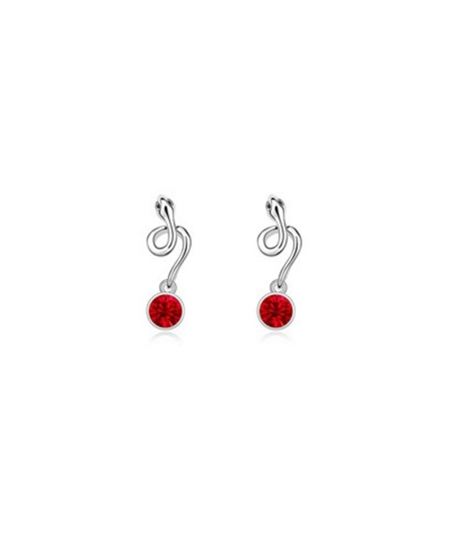 Image for Swarovski - Snake Earrings with Red Swarovski Element Crystal and White Gold Plated