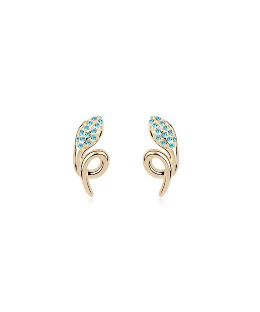 Image for Swarovski - Yellow Gold Plated Snake Earrings with Blue Swarovski Elements Crystals