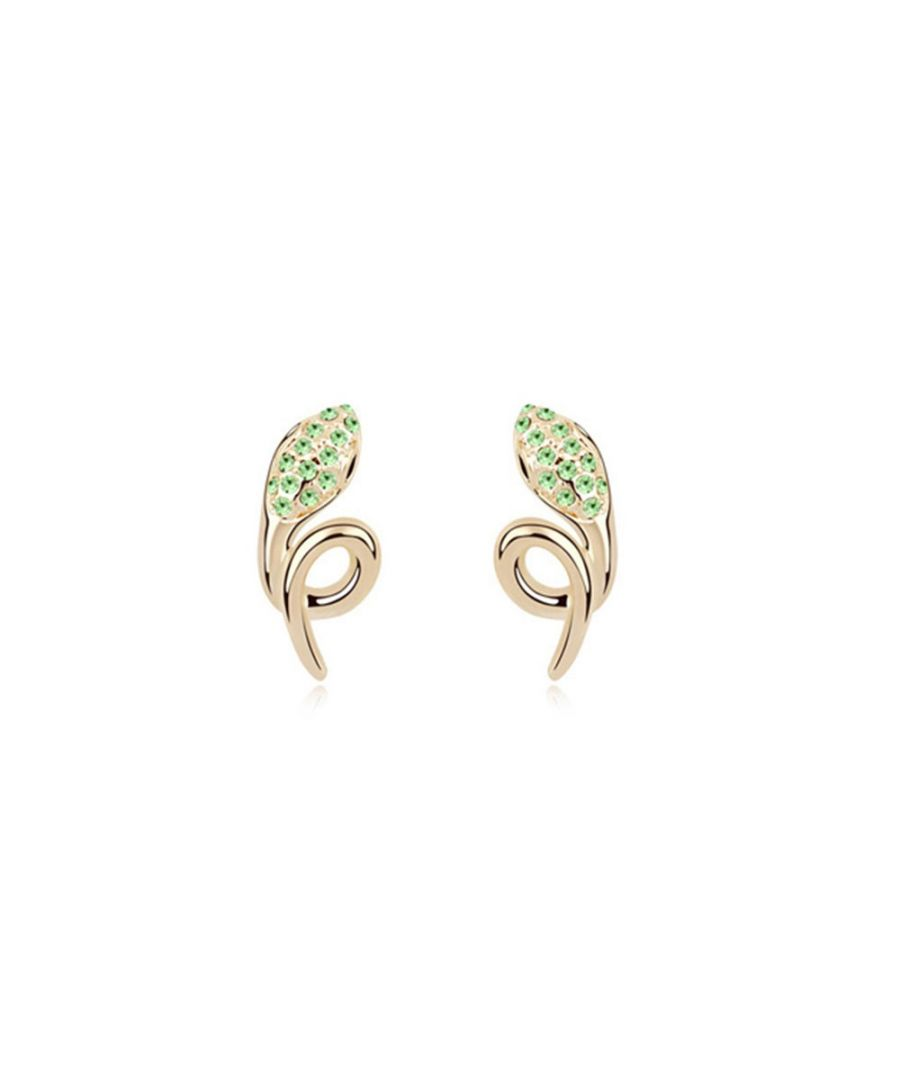 Image for Swarovski - Yellow Gold Plated Snake Earrings with Green Swarovski Elements Crystals
