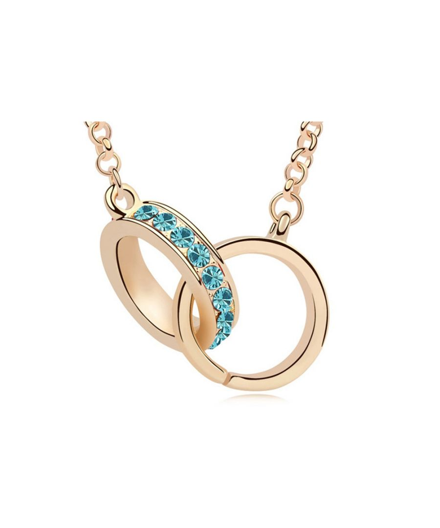 Image for Swarovski - Yellow Gold Plated Handcuffs Long Necklace and Blue Swarovski Elements Crystal