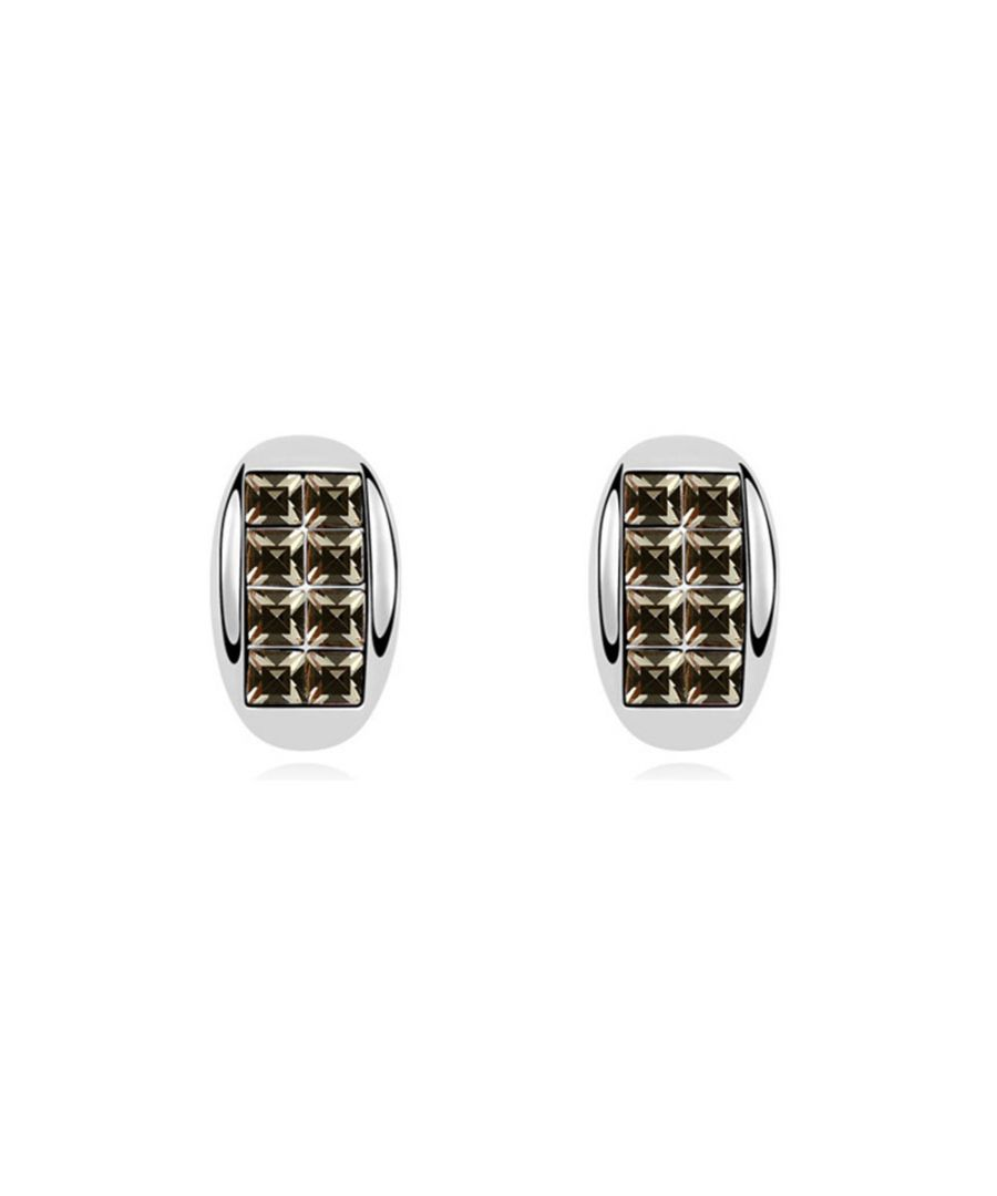 Image for Swarovski - White Gold Plated Half Moon Earrings with Black Swarovski Element Crystals