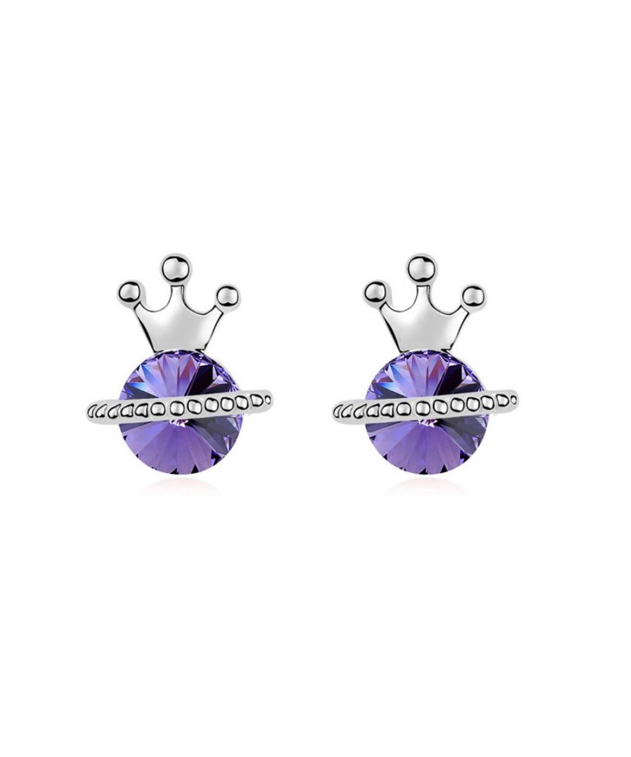 Image for Swarovski - White Gold Plated Princess Earrings with Purple Swarovski Element Crystal
