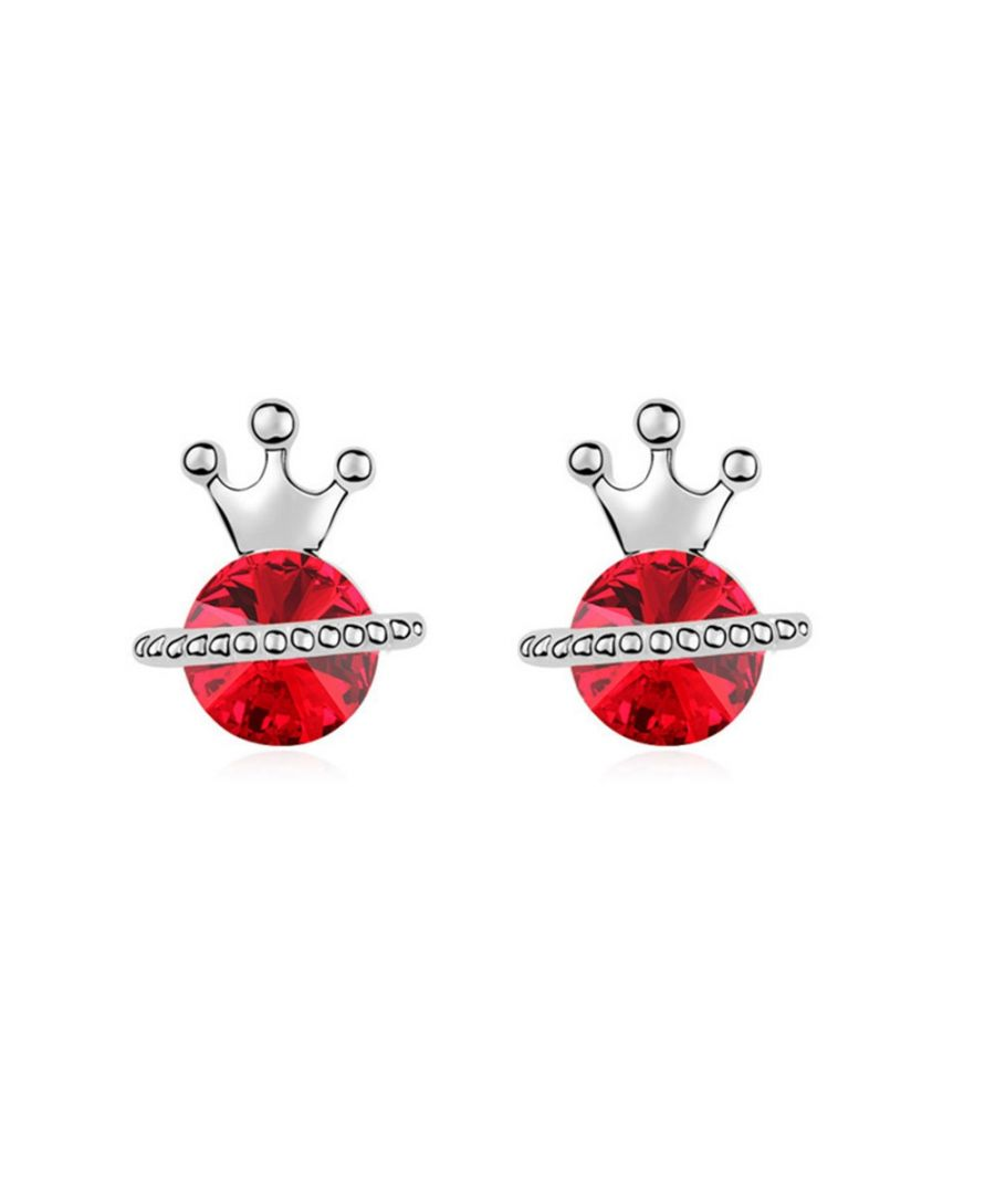 Image for Swarovski - White Gold Plated Princess Earrings with Red Swarovski Element Crystal