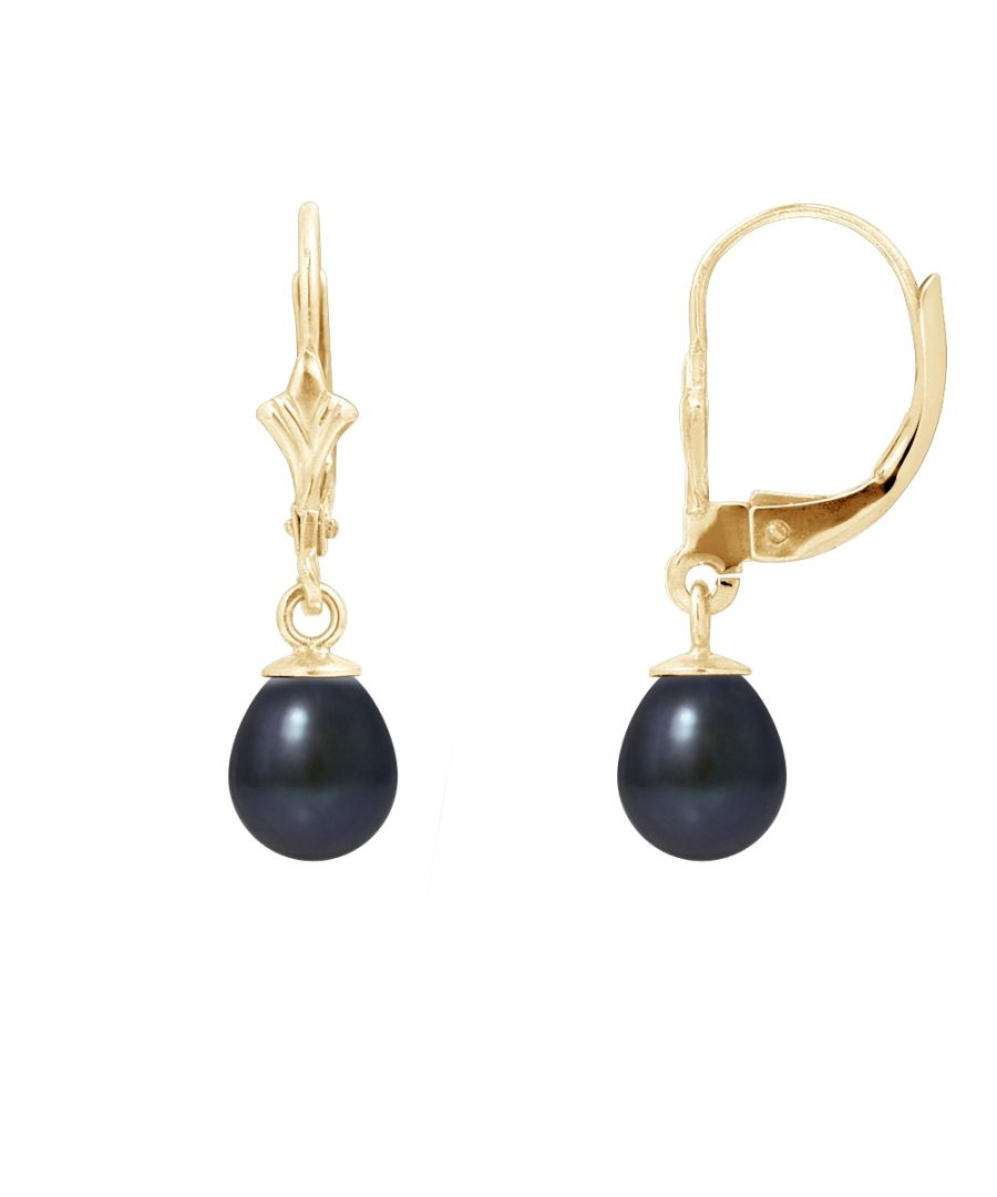 Image for Black Freshwater Pearls Earrings and yellow gold 375/1000