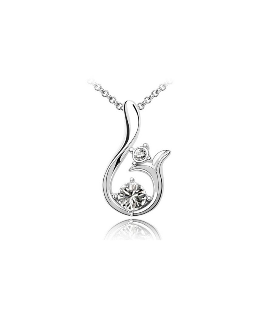 Image for Swarovski - White Gold Plated Pendant with White Swarovski Element Crystals