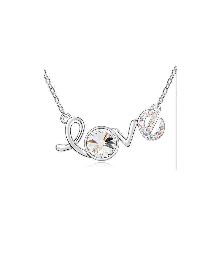 Image for Swarovski - White Gold Plated Love Necklace and White Swarovski Element Crystal