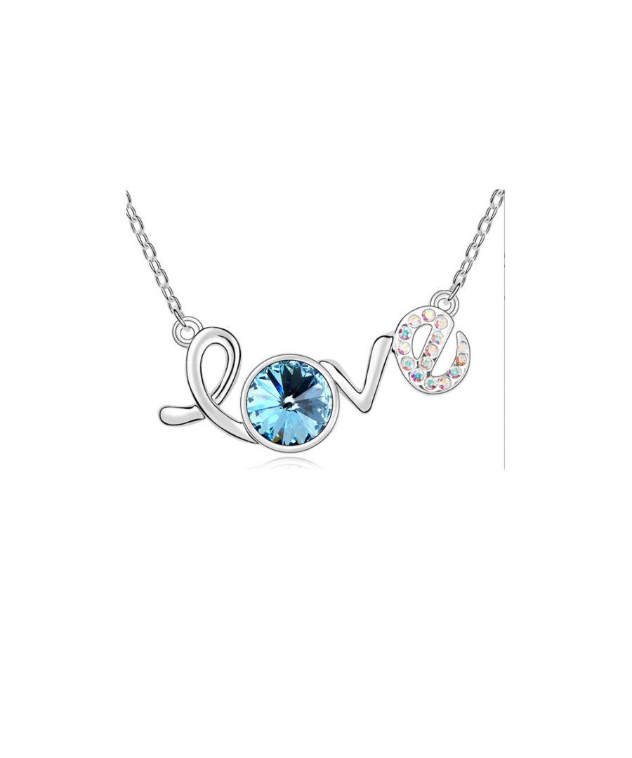 Image for Swarovski - White Gold Plated Love Necklace and Blue Swarovski Element Crystal
