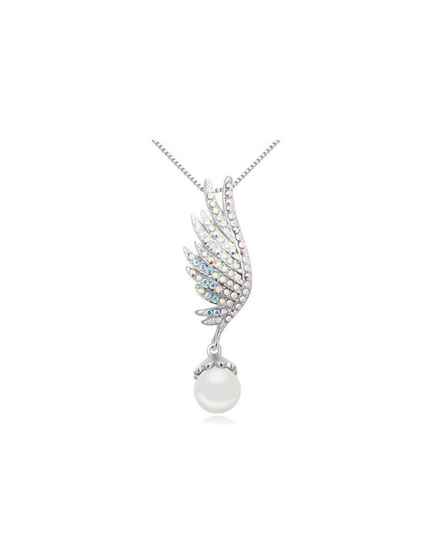 Image for Swarovski - Rhodium Plated and White Pearl Wing Pendant made with White crystals from Swarovski