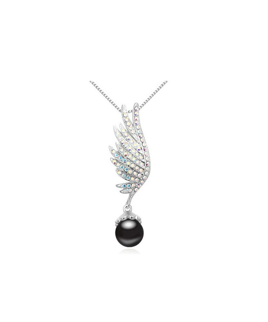 Image for Swarovski - Rhodium Plated and Black Pearl Wing Pendant made with White crystals from Swarovski