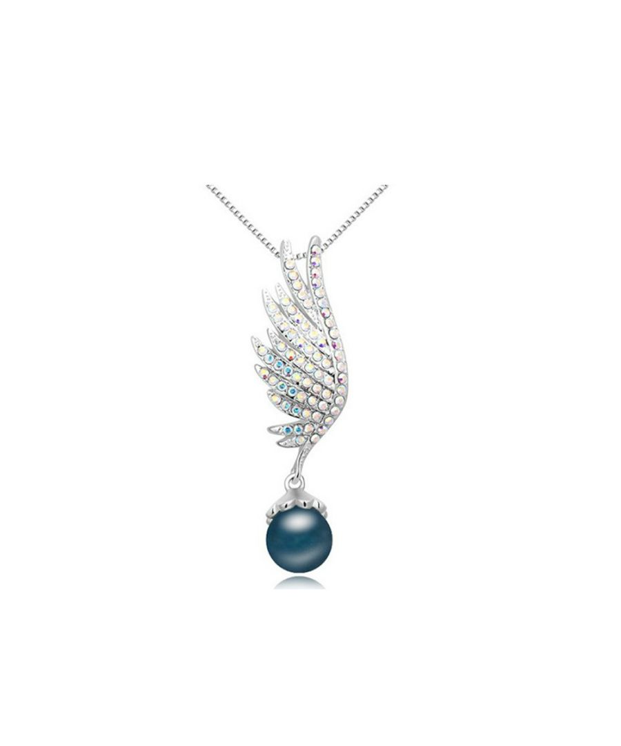 Image for Swarovski - Rhodium Plated and Blue Pearl Wing Pendant made with White crystals from Swarovski