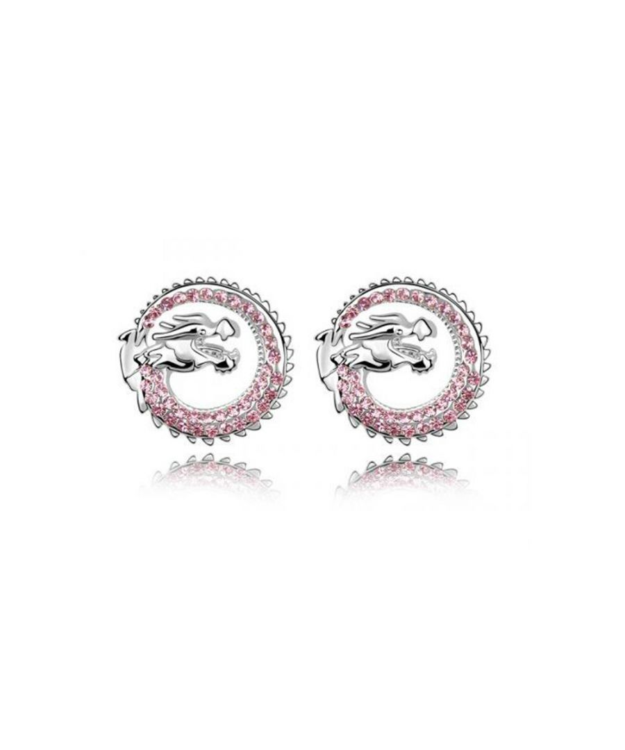 Image for Swarovski - Dragon Earrings made with a Pink Crystal from Swarovski