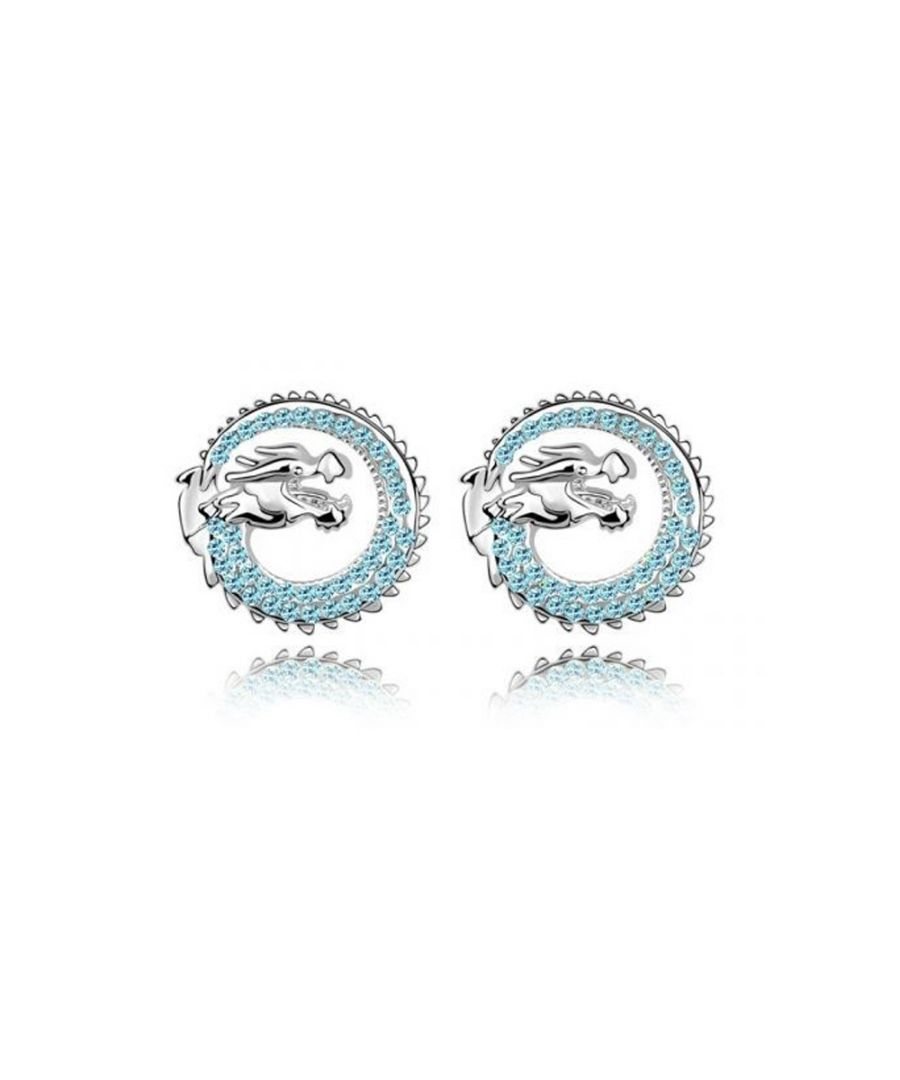 Image for Swarovski - Dragon Earrings made with a blue Crystal from Swarovski