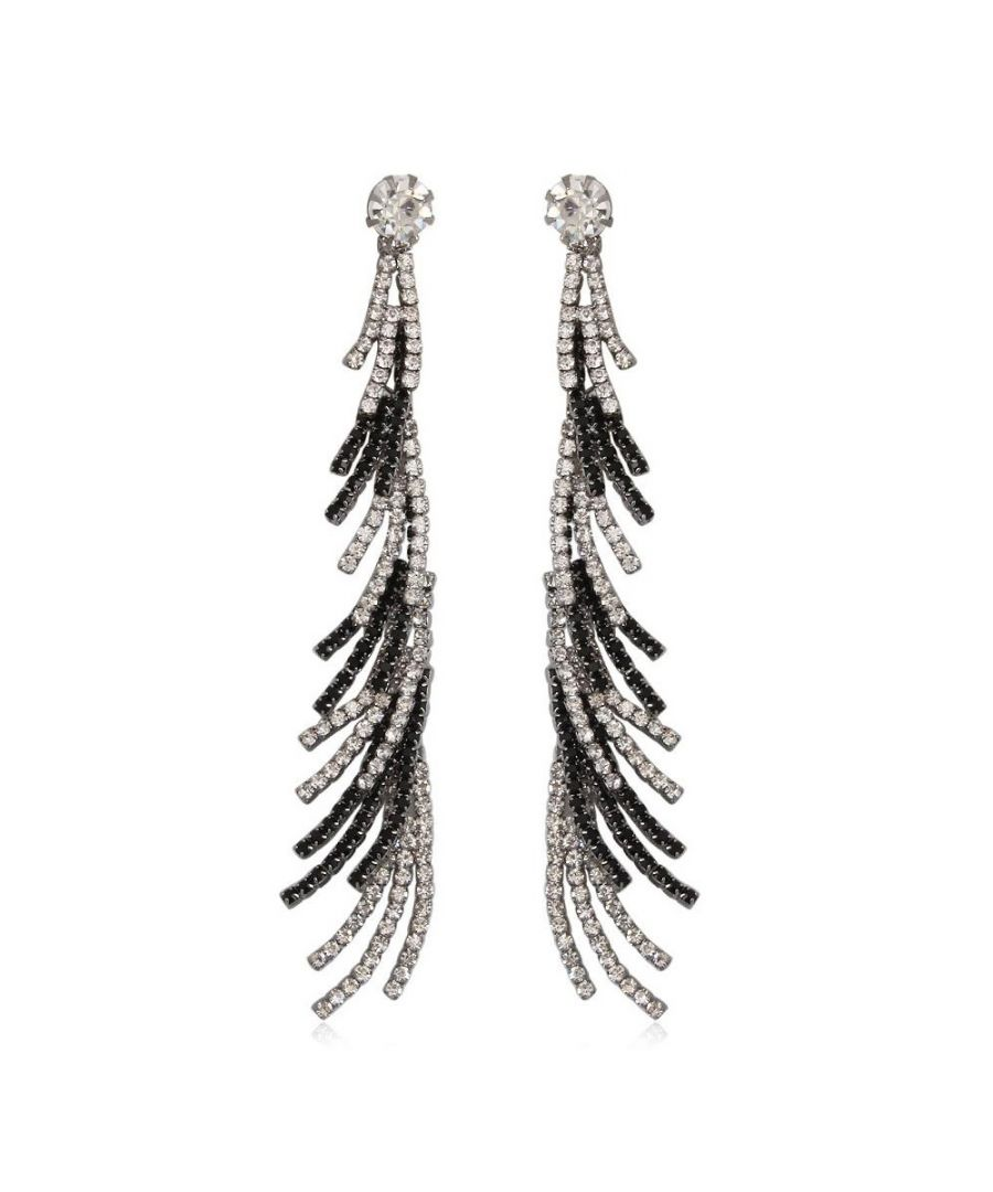 Image for White and Black Crystal Dangling Earrings