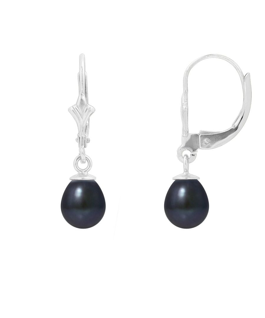 Image for Black Freshwater Pearls DanglingEarrings and 925 Silver
