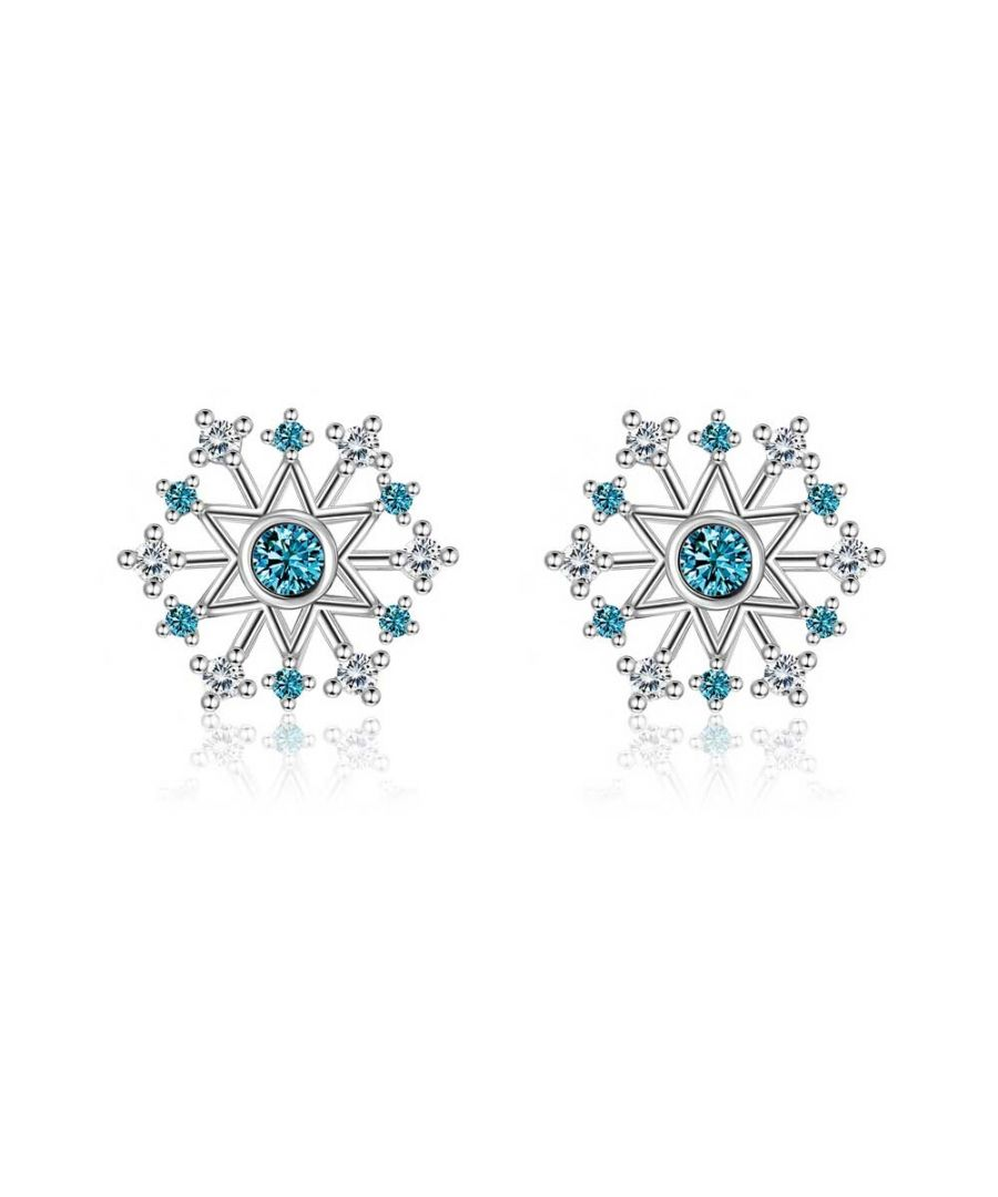 Image for Swarovski - Earrings Woman Snowflake Crystal Swarovski White and Blue