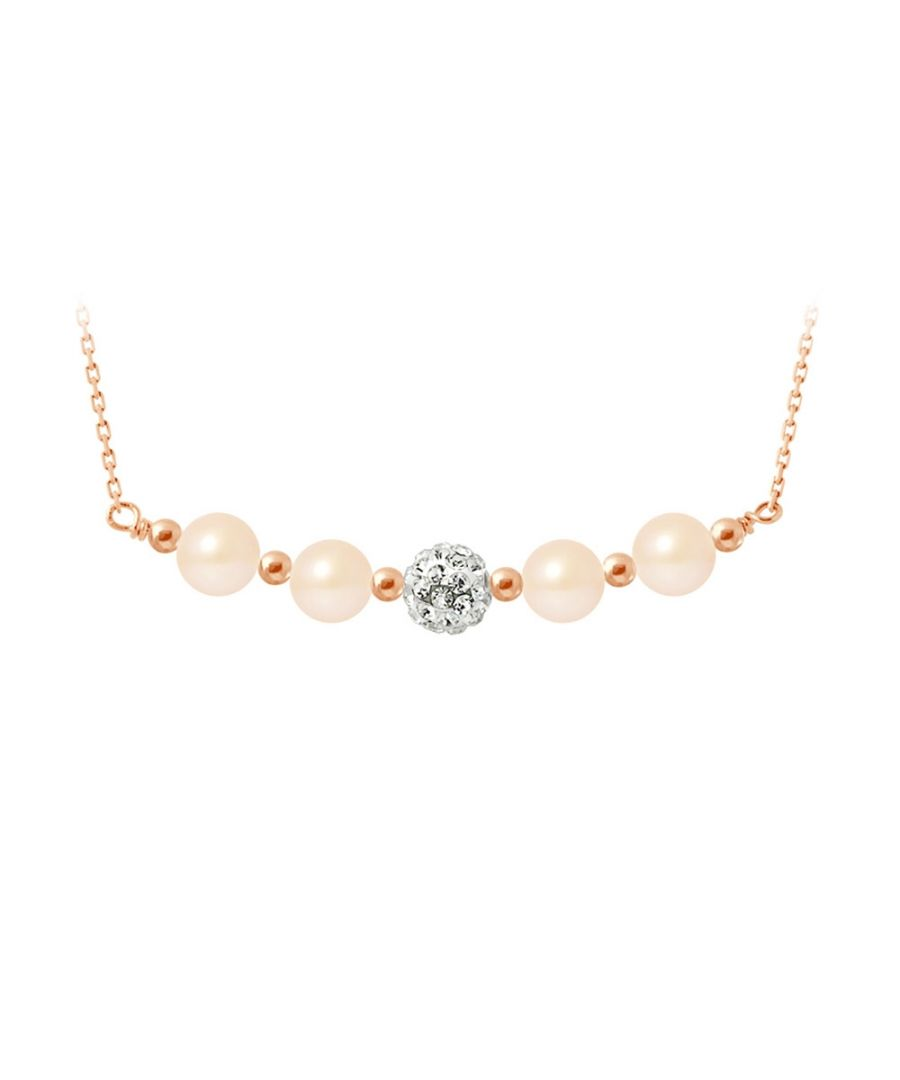 Image for Pink cultured pearls necklace, crystal and rose gold plated and 925 silver