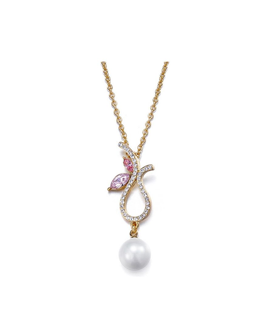 Image for Swarovski - Yellow Gold Plated Pearl Pendant with Purple Pink Swarovski Element Crystals
