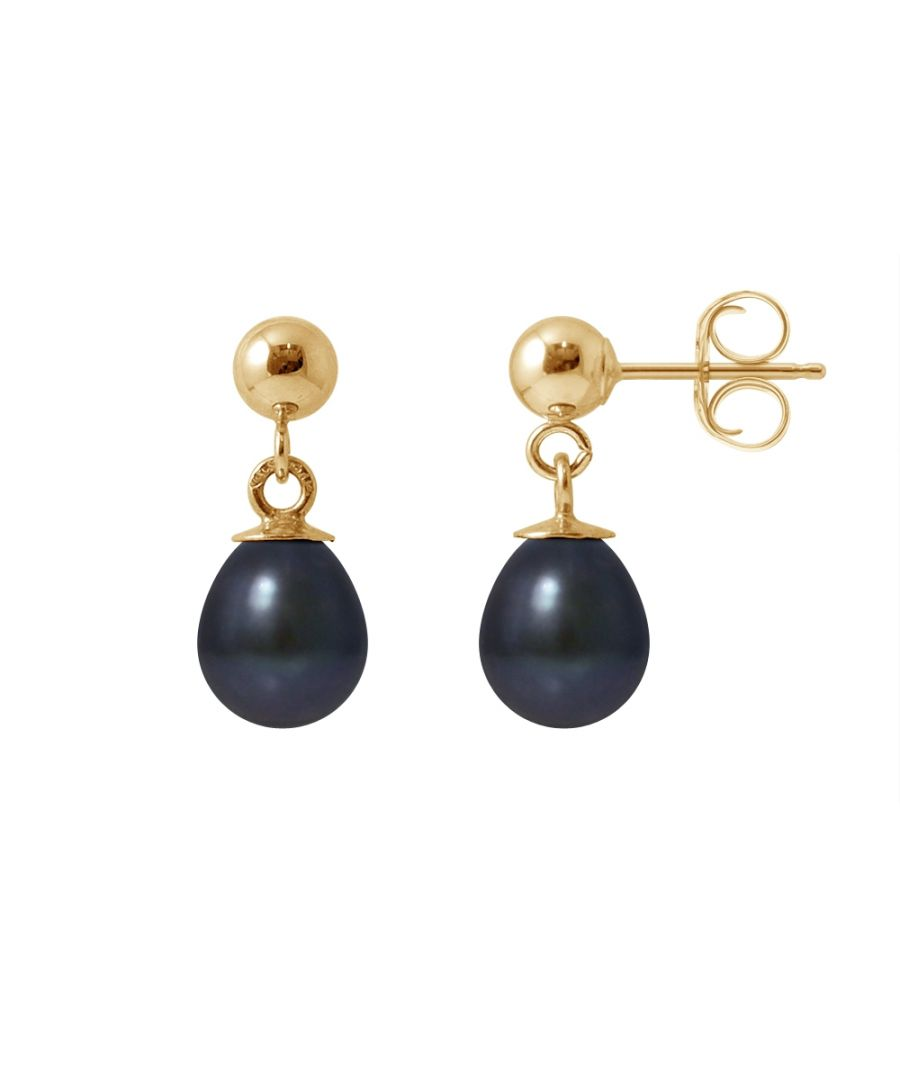 Image for Black Freshwater Pearls Earrings and yellow gold 750/1000