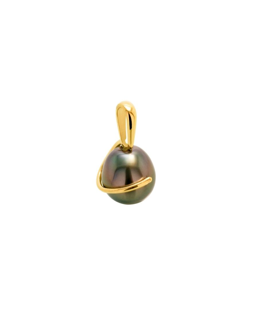 Image for Black Tahitian Pearl Pendant and Yellow Gold 375/1000