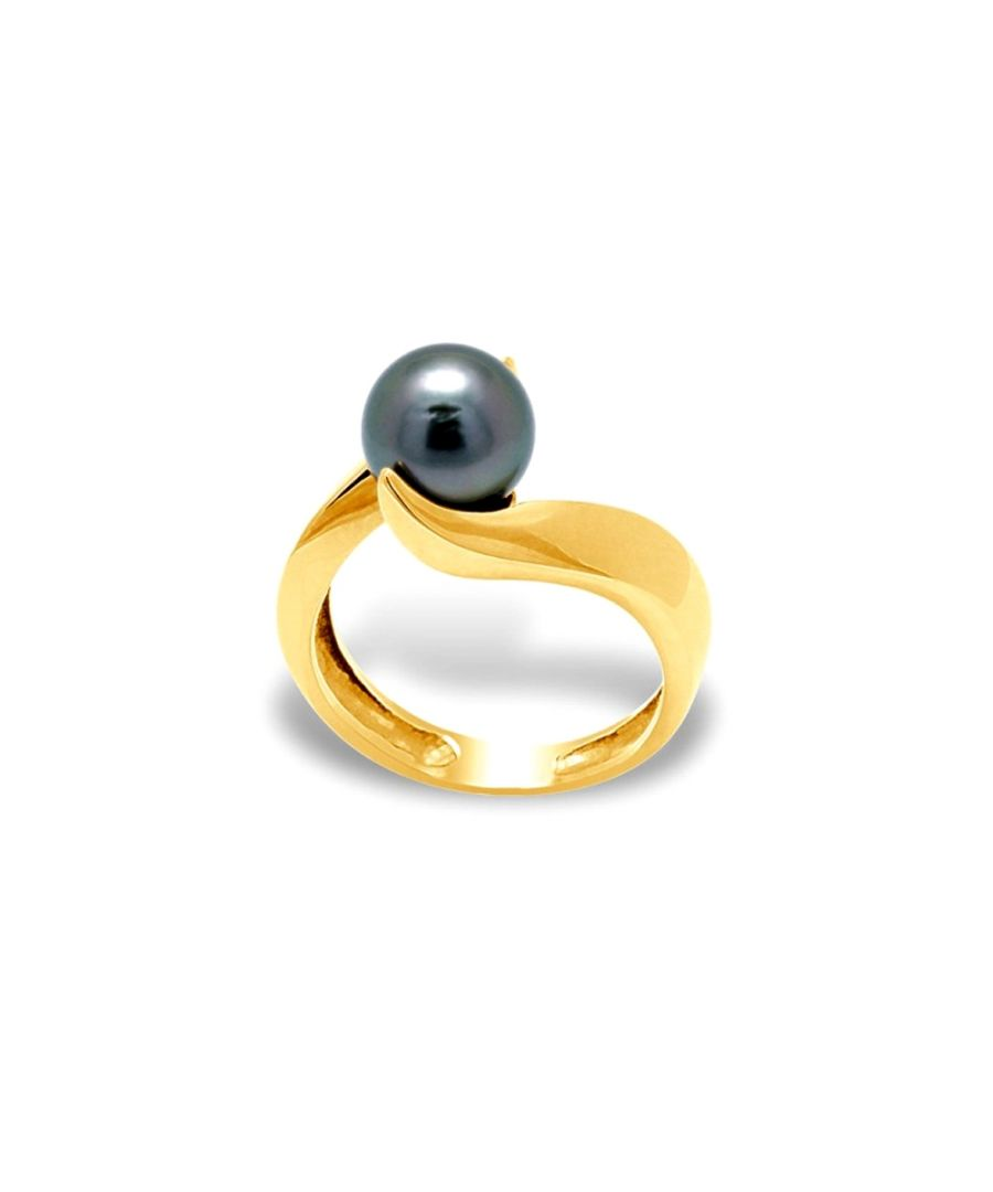Image for Black Tahitian Pearl Ring and Yellow Gold 375/1000
