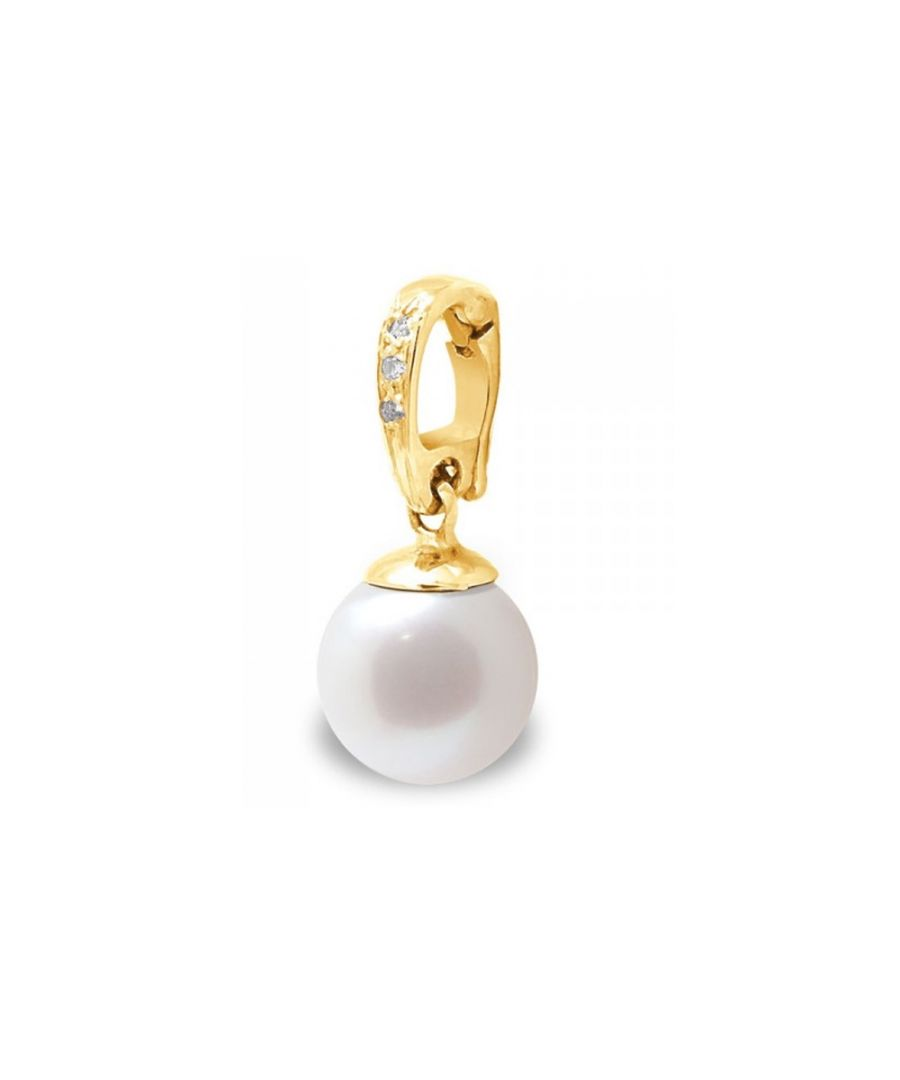 Image for White Freshwater Pearl, Diamonds Pendant and Yellow Gold 375/1000