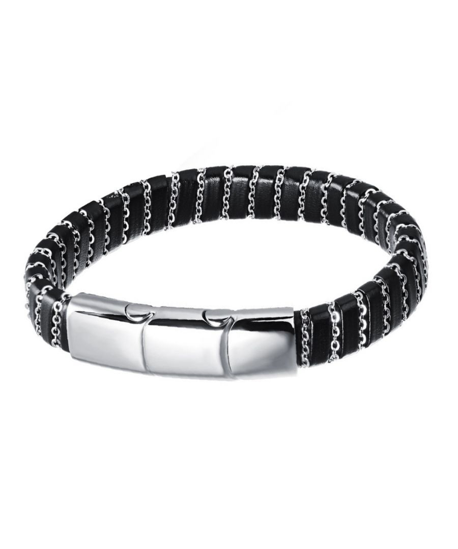 Image for Black Leather and Stainless Steel Man Bracelet