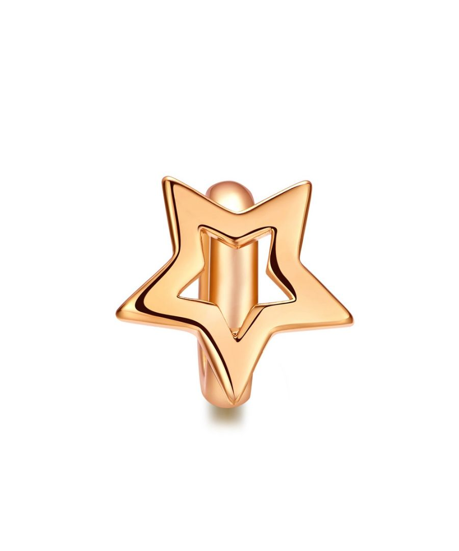 Image for Star Charms Beads Pink Gold Stainless Steel