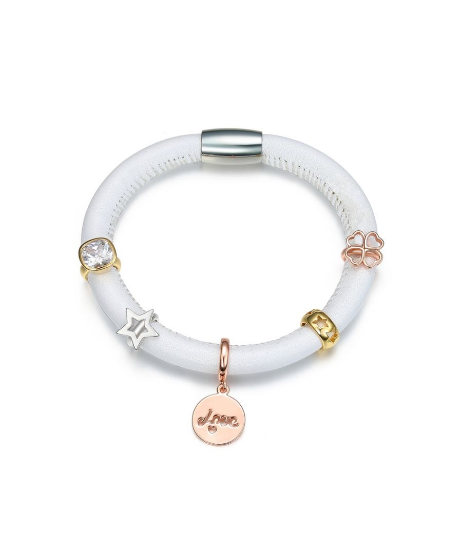 Image for White Leather Charm's Bracelet, Beads Clover, Stars and White Crystal