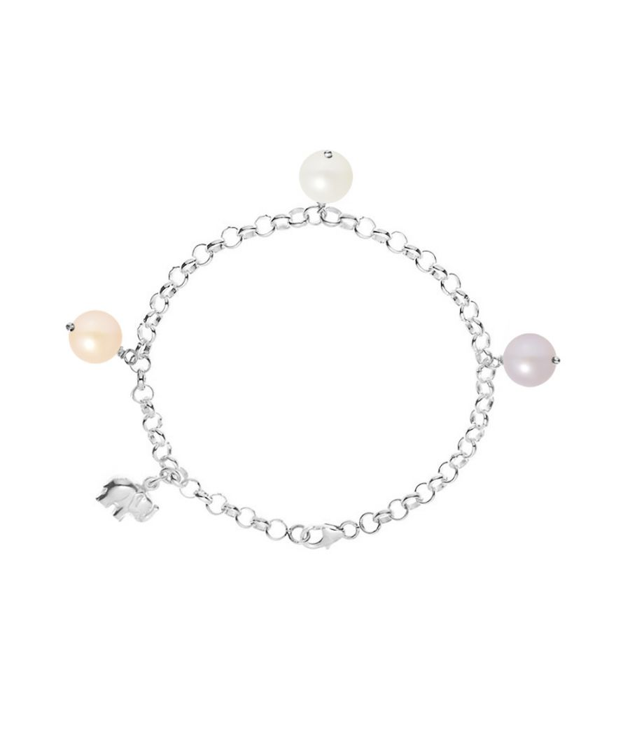 Image for White Peach and Lavender Freshwater Pearl Elephant Bracelet and Silver 925