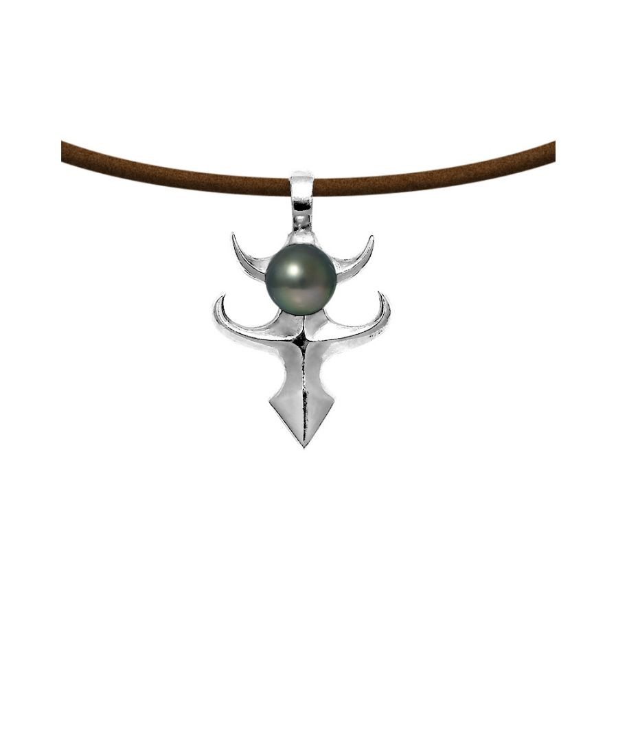 Image for Black Tahitian Pearl Tribal Pendant and Leather Man Necklace and 925 Sterling Silver