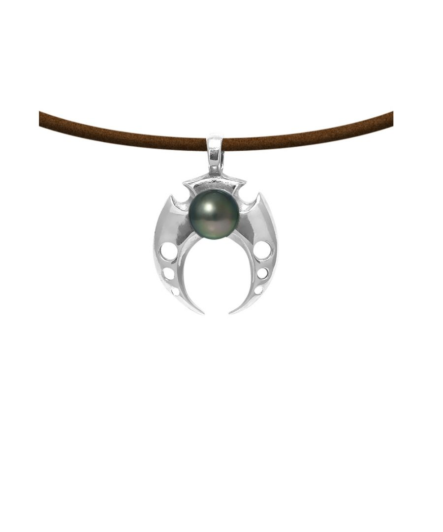 Image for Black Tahitian Pearl Tribal and Brown Leather Man Pendant Necklace and 925 Sterling Silver