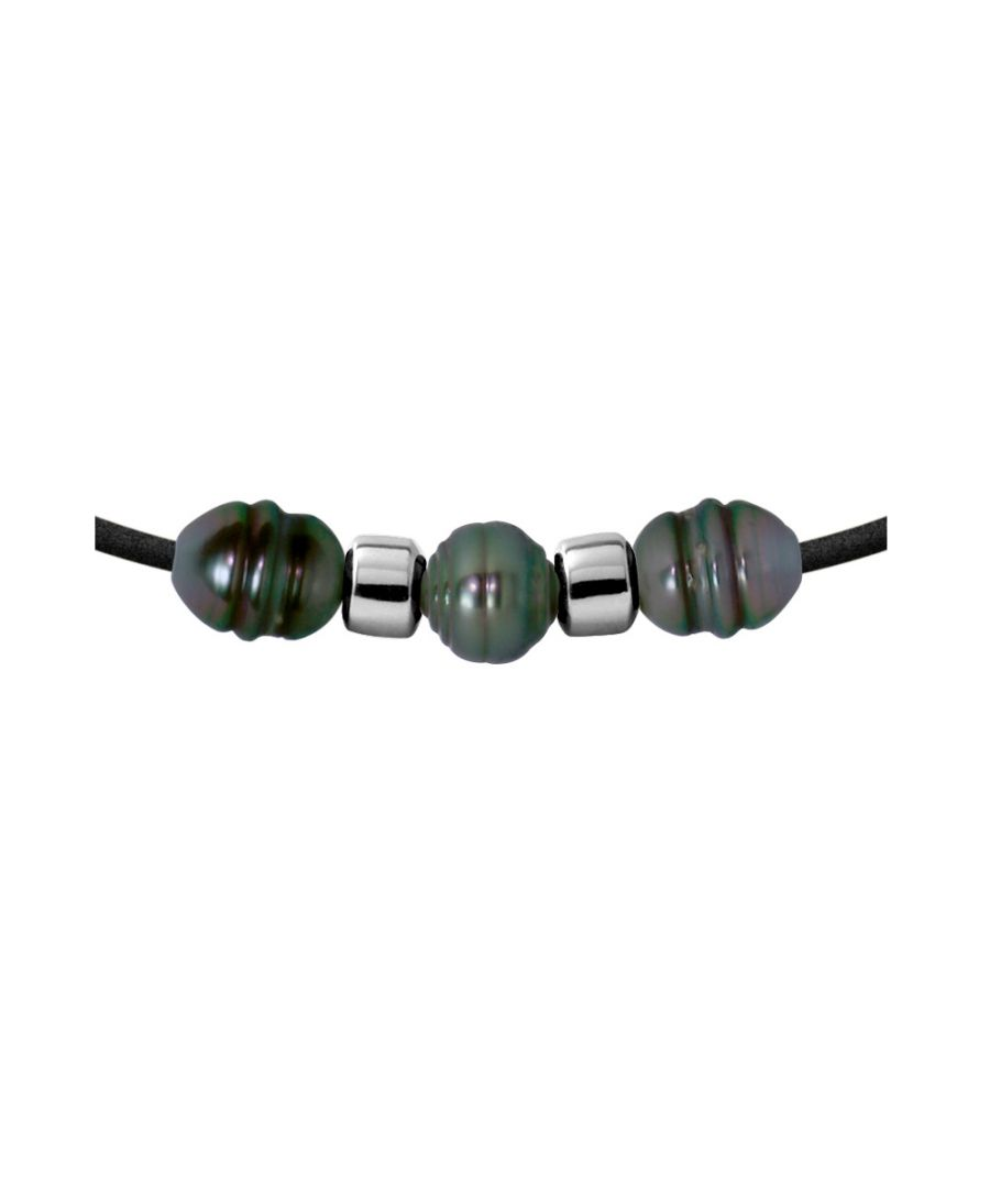 Image for 3 Tahitian Pearls Neoprene Necklace and 925 Sterling Silver