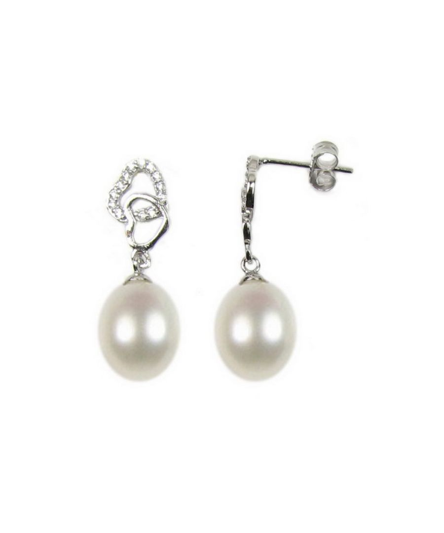 Image for White Freshwater Pearls, Heart Women Earrings and 925/1000 Silver