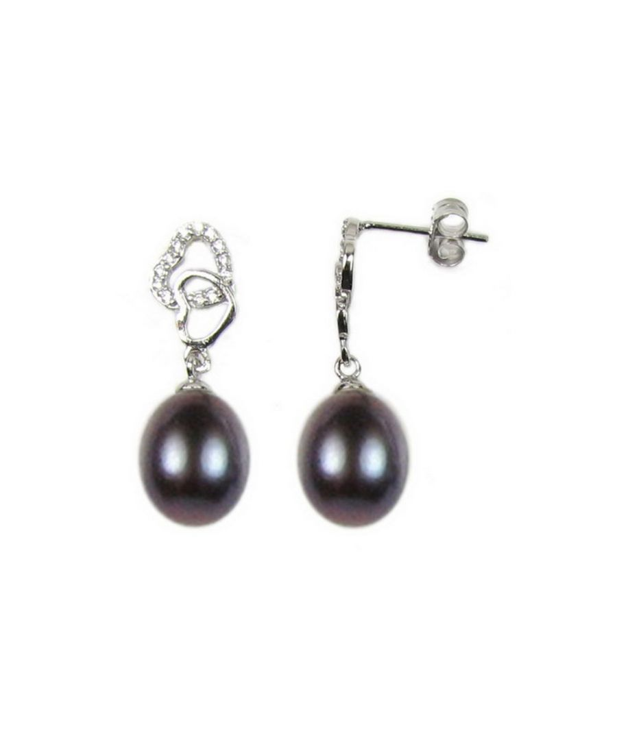 Image for Black Freshwater Pearls Hearts, Dangling Earrings and 925/1000 Silver