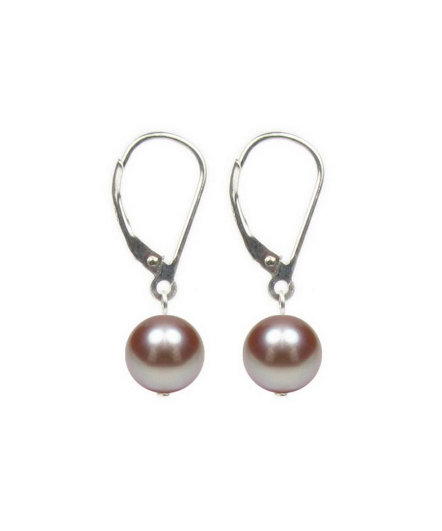 Image for Lavander Freshwater Pearls Women Hanging Dangling Earrings and Silver Mounting