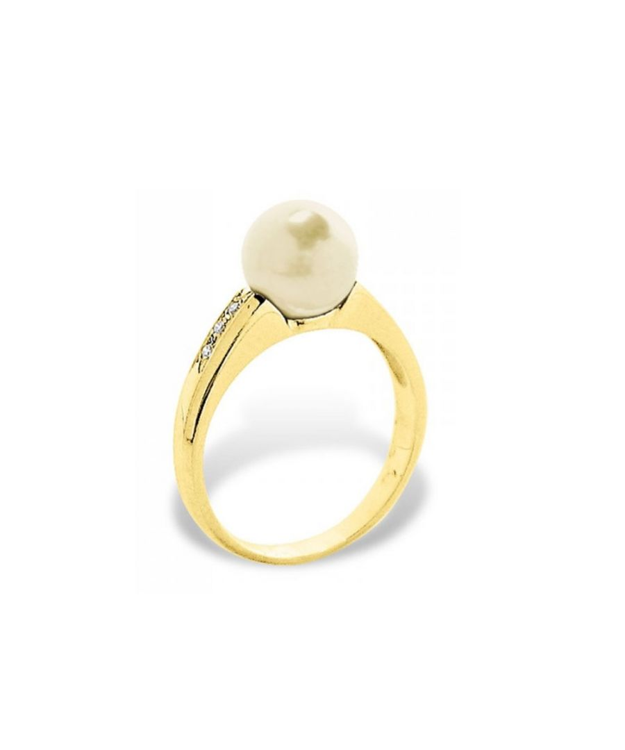 Image for Gold Freshwater Pearl, Diamonds Ring and Yellow Gold 375/1000