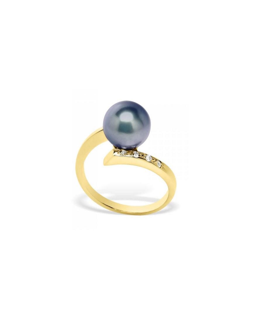 Image for Black Freshwater Pearl, Diamonds Ring and Yellow Gold 375/1000