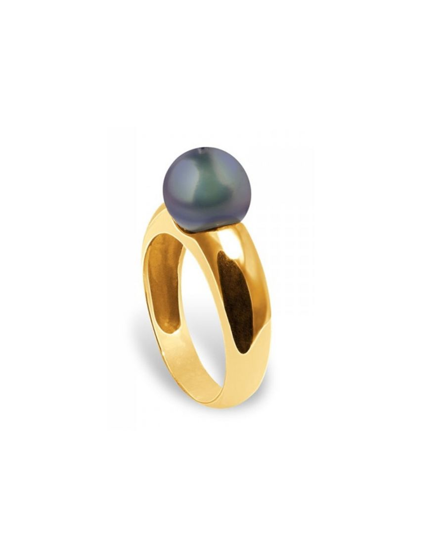 Image for Black Freshwater Pearl Ring and Yellow Gold 375/1000