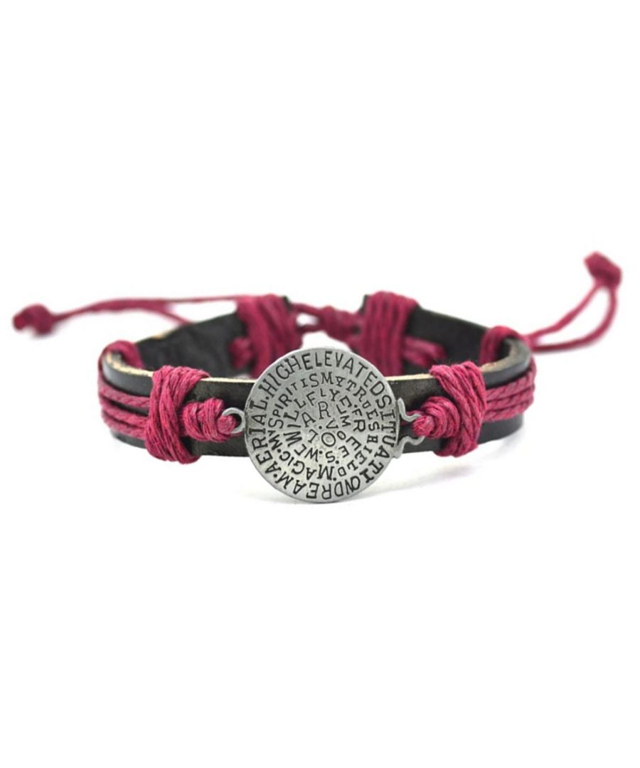 Image for Brown Leather, Red Cordon and Stainless Message Man Bracelet