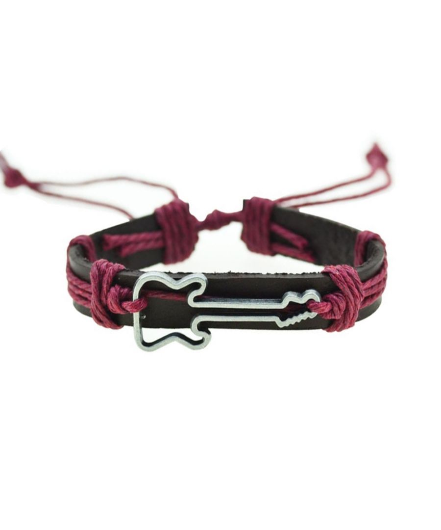Image for Brown Leather, Red Cordon and Stainless Turtle Man Bracelet