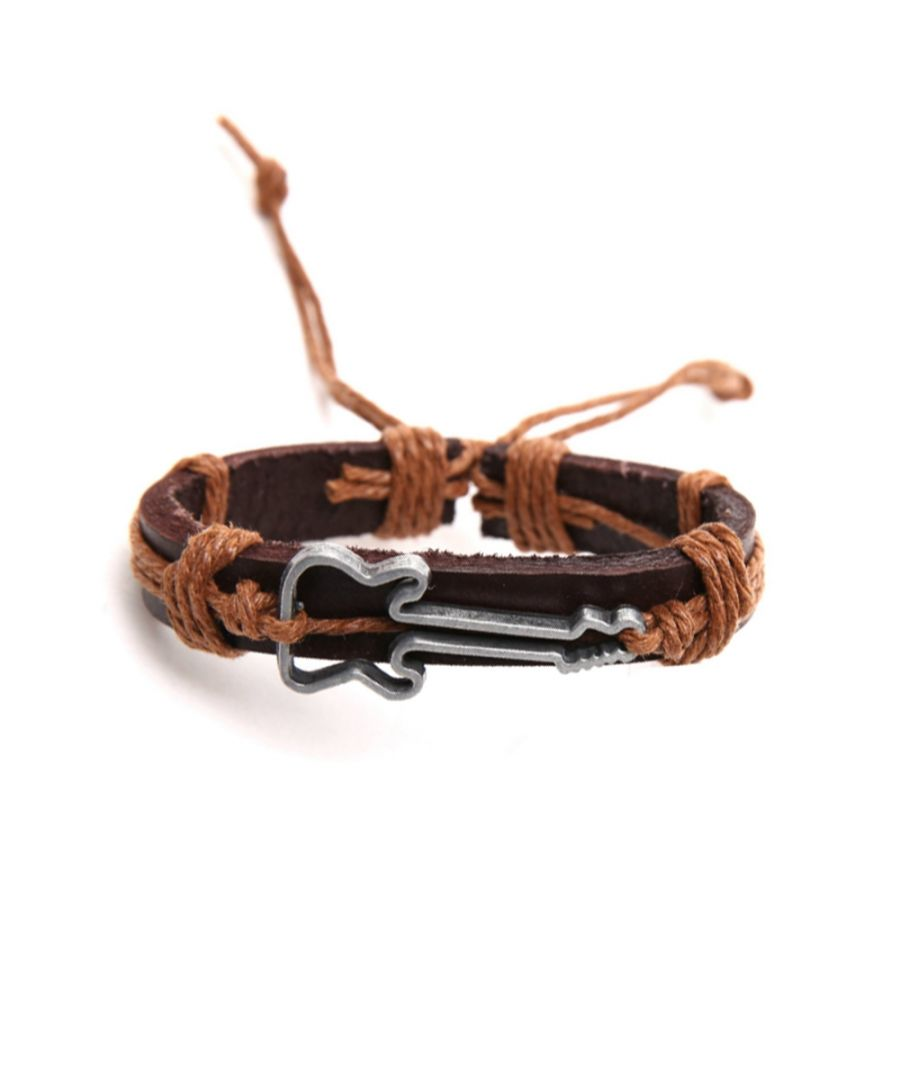 Image for Brown Leather, Beige Cordon and Stainless Guitar Man Bracelet