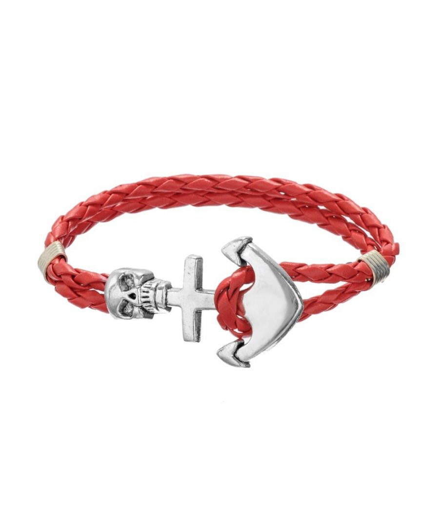 Image for Red Braided Leather Anchor and Skull Stainless Steel Man Bracelet