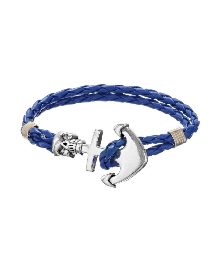 Image for Blue Braided Leather Anchor and Skull Stainless Steel Man Bracelet