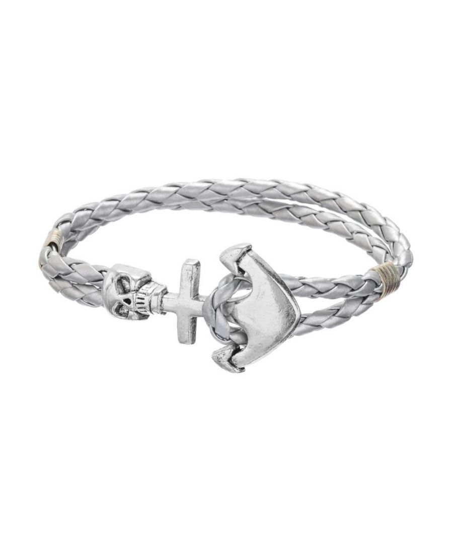 Image for Silver Braided Leather Anchor and Skull Stainless Steel Man Bracelet